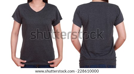 blank t-shirt set (front, back) with female isolate on white background - stock photo