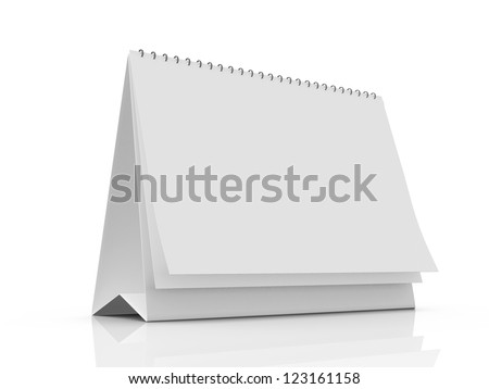 Blank table calendar with pages, isolated on white background. - stock photo