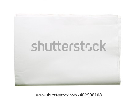 Blank tabloid format newspaper folded in half isolated on white background. - stock photo