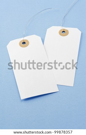 Blank tag on blue background