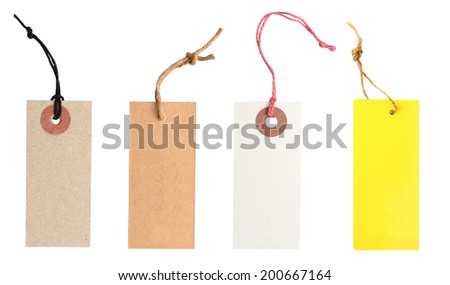 Blank tag tied. Price tag, gift tag, sale tag, address label  - stock photo