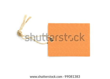 blank tag tied with a brown string isolated on a white background