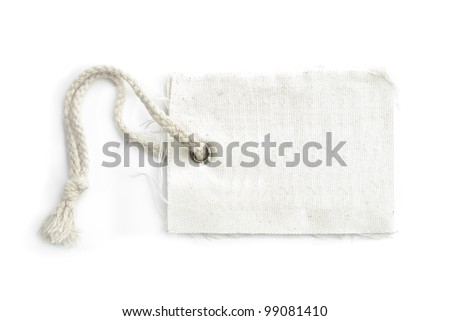 blank tag tied with a string isolated on a white background - stock photo