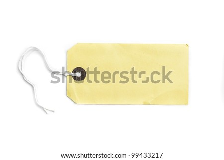 blank tag tied with a string isolated on a white background