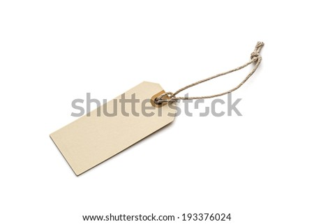 Blank tag tied with brown string isolated on white background - stock photo