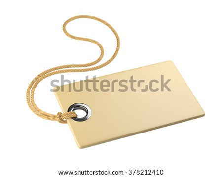 Blank tag tied with rope. Isolated on a white background 3d Image.