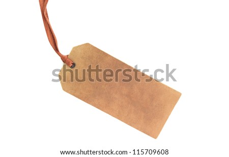 Blank tag tied with string - stock photo