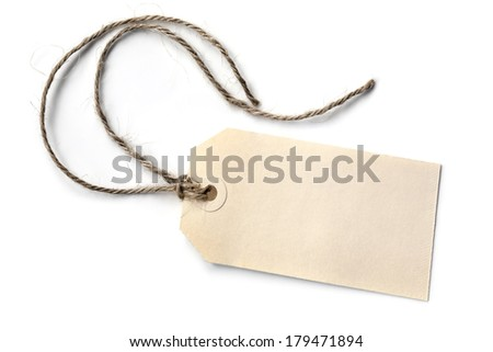Blank tag tied with string, isolated on white. - stock photo