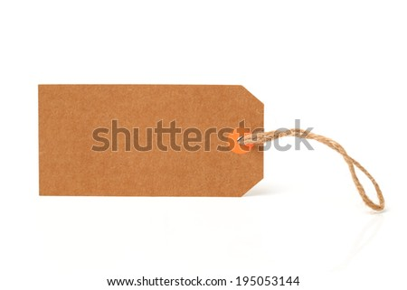 Blank tag tied with string. Price tag, gift tag, sale tag, address label on white background  - stock photo
