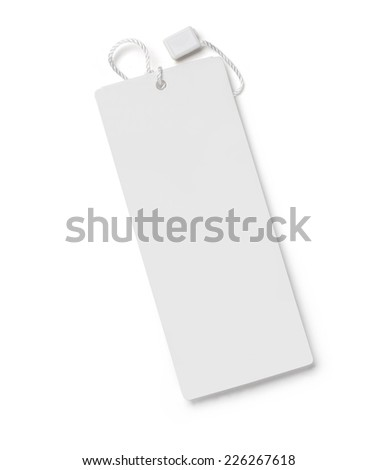 Blank tag tied with string. Price tag, gift tag, sale tag, address label. with clipping path - stock photo