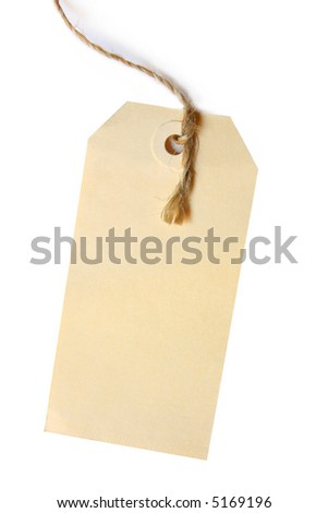 Blank tag with brown string, isolated on white.