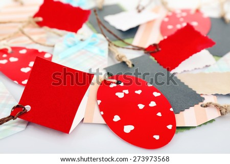 Blank tags, closeup - stock photo