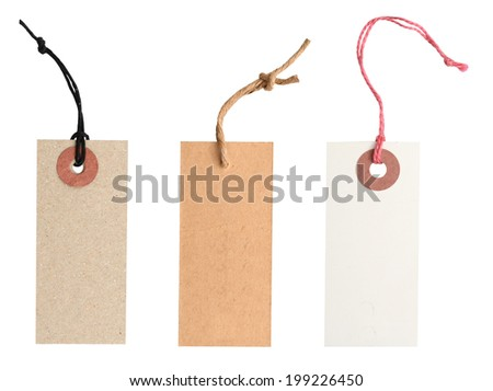 Blank tags tied with string. - stock photo