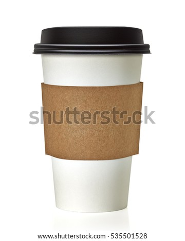 Blank take away coffee cup with clipping path on white background