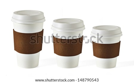 Blank takeaway coffee cups in three size on white background