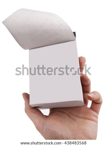Blank tear-off calendar in hand - stock photo