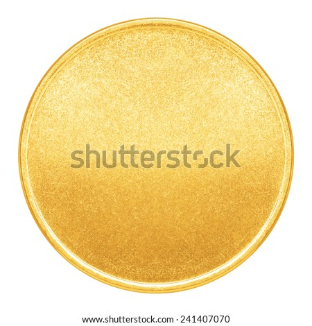Blank template for gold coin or medal with metal texture - stock photo