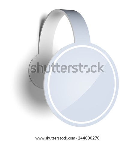 Blank template layout of white sticker, label or wobbler. Surface empty to place your text or logo. - stock photo