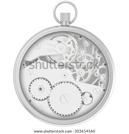 Blank template stopwatch with cogwheel mechanism isolated on white background - stock photo