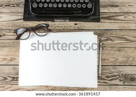 blank template white paper mockup where you can place text ad information. Top view. Workplace writer journalist blog editor