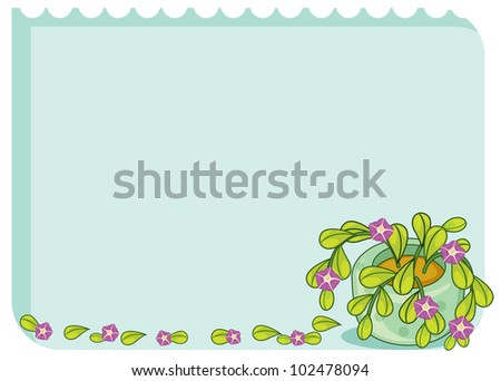 Blank template with leafy border - EPS VECTOR format also available in my portfolio. - stock photo