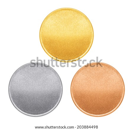 Blank templates for coins or medals with metal texture - stock photo