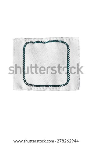 Blank textile clothes label isolated over white
