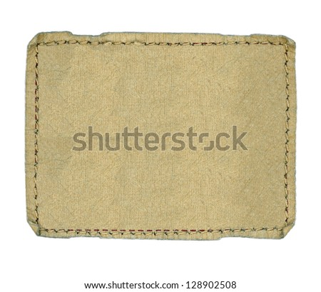 Blank textured label, isolated - stock photo