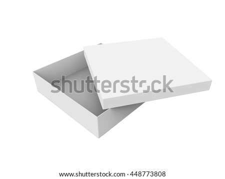 Blank thin box, isolated on a white background. Mockup for your design. 3D illustration - stock photo
