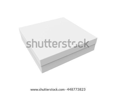 Blank thin box, isolated on a white background. Mockup for your design. 3D illustration