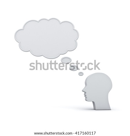 Blank thought bubble above head thinking concept isolated over white background with shadow. 3D rendering.
