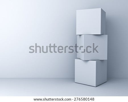 Blank three 3d boxes concept standing over white wall background