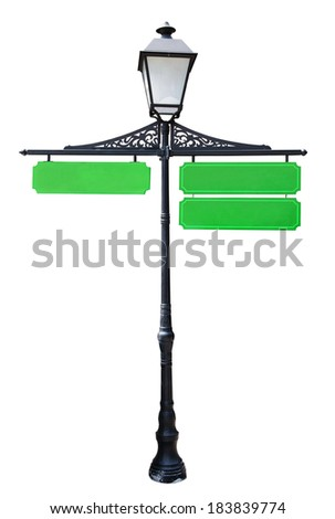 Blank three green directional with space for customized wording, isolated on white, clipping path - stock photo
