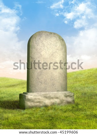 Blank tombstone in a green grass meadow. Digital illustration. - stock photo