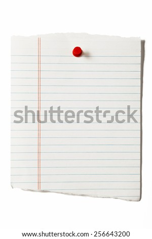 Blank Torn Page With Red Thumbtack - stock photo