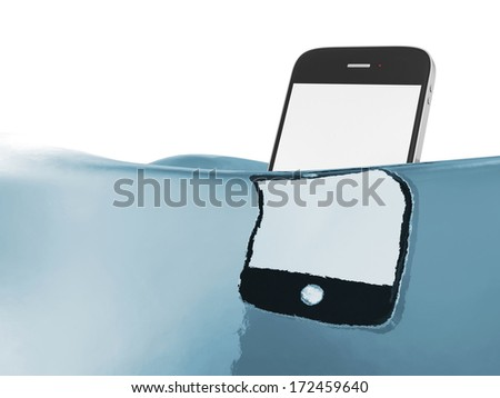 Blank touchscreen smartphone in water isolated on white background - stock photo