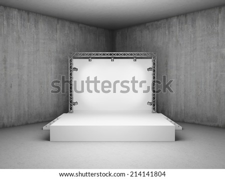 Blank trade exhibition stand with screen and spot lights in concrete room - stock photo
