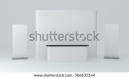 blank trade show booth exhibition on white background