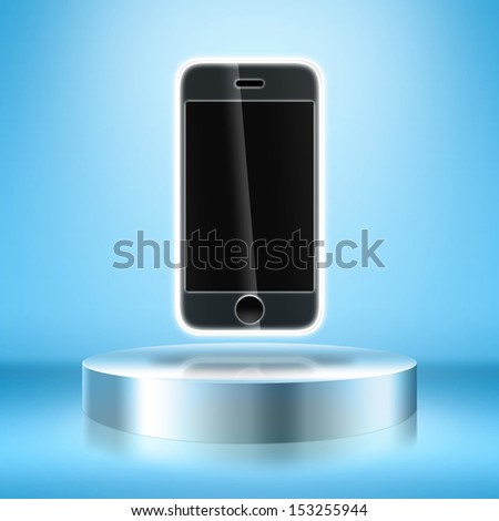 Blank trade show booth with mobile phone. - stock photo