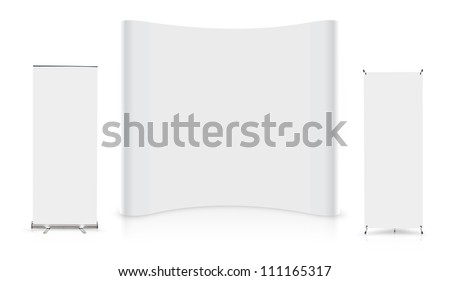 Blank trade show booth with roll up banner display, isolated on white background (Save Paths For design work)