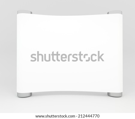 Blank trade show white display booth for design - stock photo