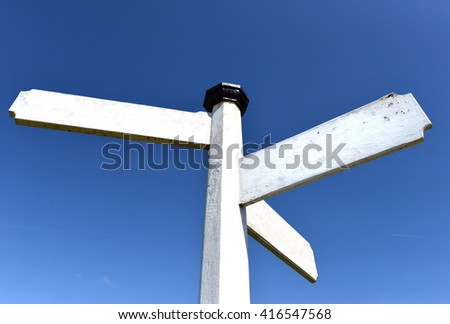 Blank traditional white wooden finger-post / signpost