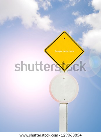 blank traffic board on sky background,abstract sign,business symbol.