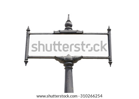 Blank traffic road sign, Thai style traffic road sign on white. - stock photo
