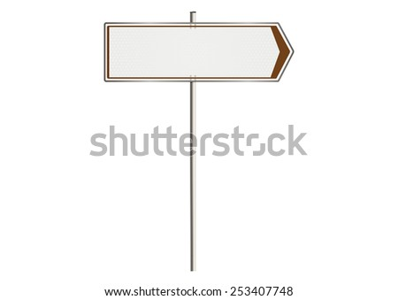 Blank traffic sign on a white background. Plenty of space for any text. Raster.
