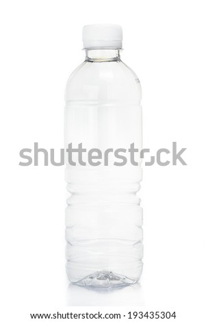 Blank transparent of drink water plastic bottle isolated on white background - stock photo