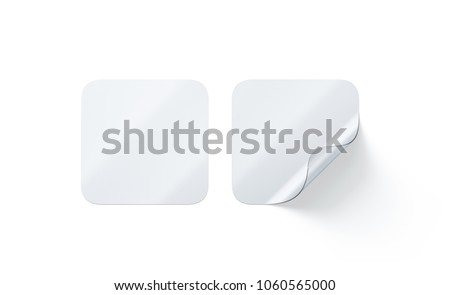 Blank transparent square adhesive stickers mock up with curved corner 3d rendering empty quadratic