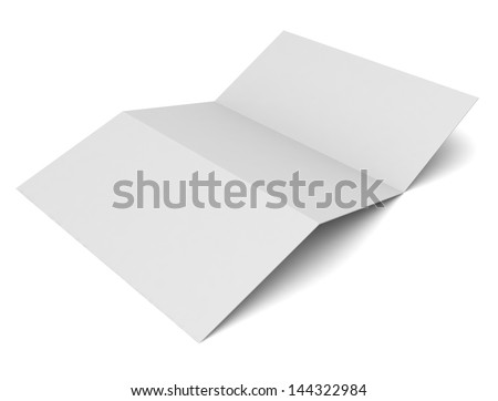 Blank tri fold brochure and Business card isolated on white - stock photo
