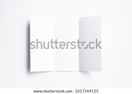 blank tri fold brochure isolated on stock illustration 1017269110