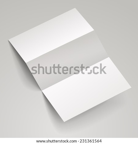 blank tri-fold brochure template over white background   - stock photo